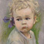 Portret dziecka z kwiatkiem 25 x 30 cm