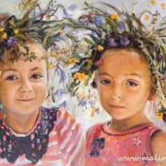 Portret dziewczynek wwiankach