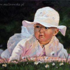 Portret małej dziewczynki wkapeluszu