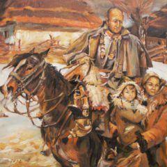 Portret rodzinny stylizowany naobraz Kirasjer iDziewczyna