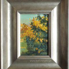 Widok z okna pracowni, jesień - obraz olejny