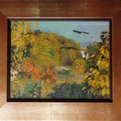 Widok z okna pracowni na drzewa, jesień - obraz olejny