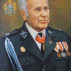 Portret z herbami rodowymi, w mundurze