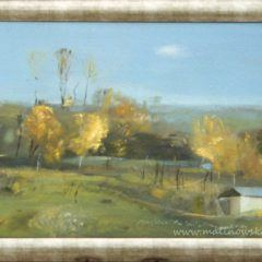 Obraz olejny na płótnie - pejzaż z płonącymi drzewami