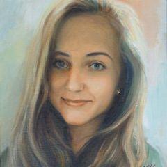Portret dziewczyny zezdjęcia, olej napłótnie 40 x 50 cm