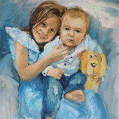 Portret olejny dzieci