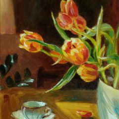 "Obrazy olene- obraz""Tulipany i filiżanka"""