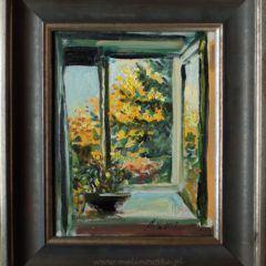 Okno pracowni-październik, obraz olejny napłótnie wramie