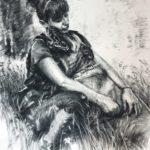 Portret zpsem - rysunek węglem