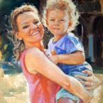 Portret matki zdzieckiem, olej napłótnie