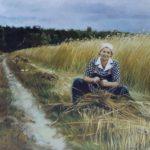 Portret-na polu zboża, olej napłótnie, 50 x 60 cm, 2021 r.